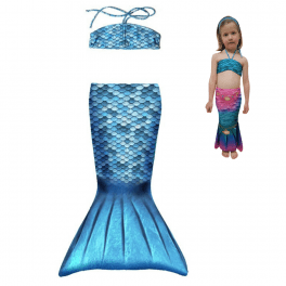 mermaid set toddler blue